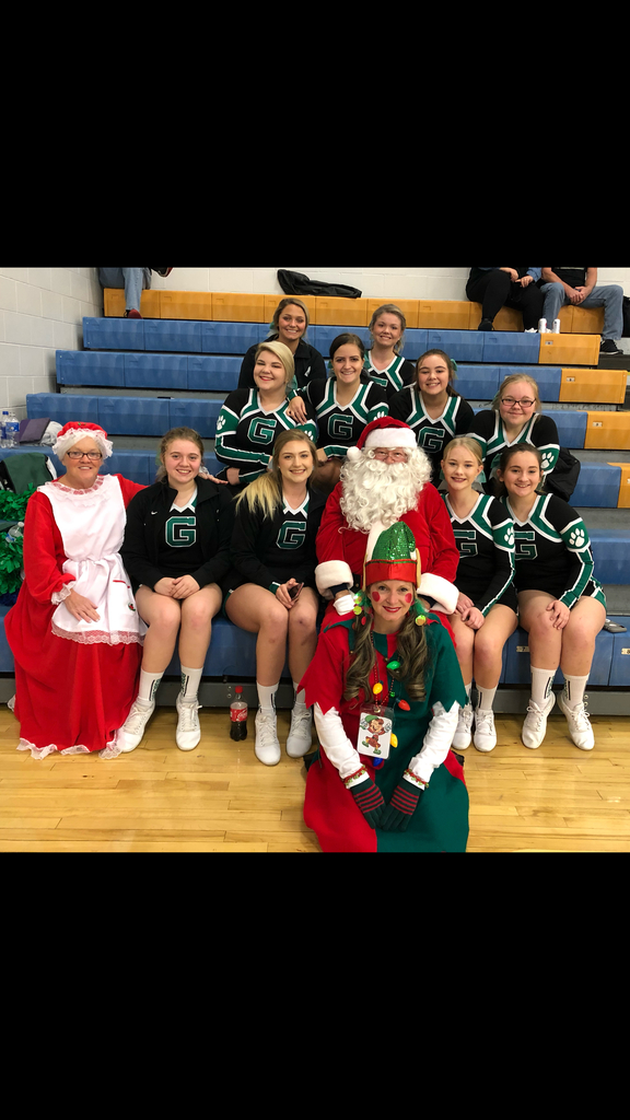Bobcat Cheerleaders with Santa and friends.